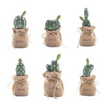 Nordic Artificial Succulent Cactus Linen Potted Plant Bonsai Home Garden Decor