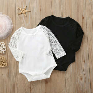 Baby Bodysuits Outfit Long-Sleeve Born Kids Cotton Lace One-Pieces New Mesh