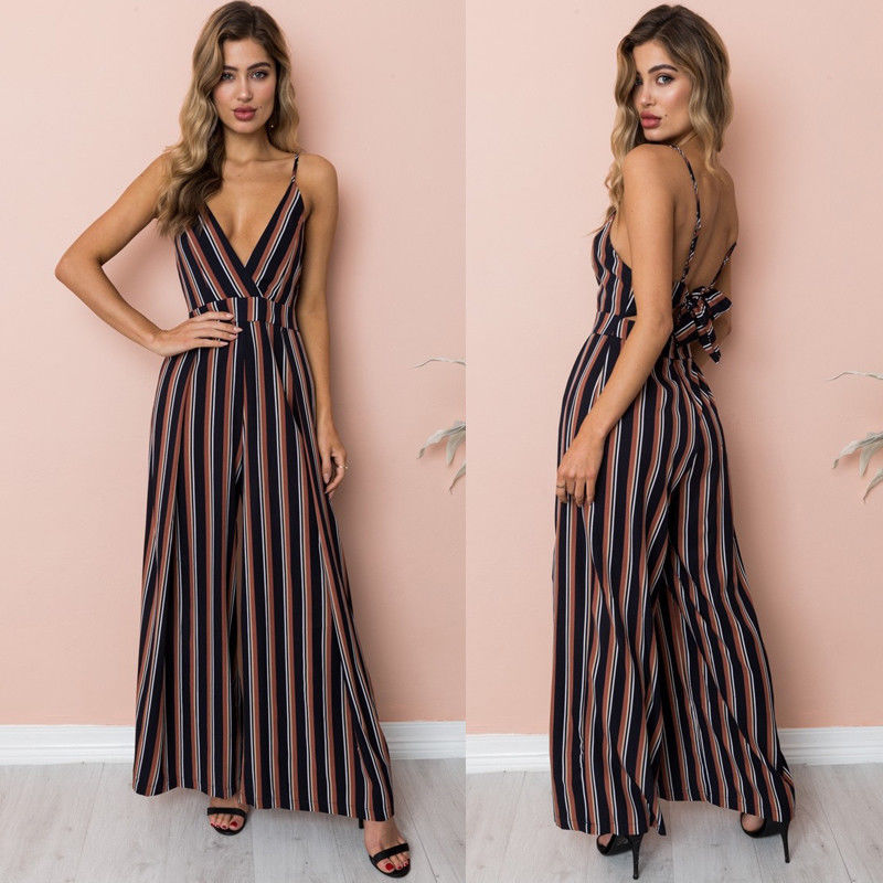 Fashion Women Floral Striped Jumpsuit Romper Sleeveless Playsuit Trousers Wide Leg Pants Summer Casual Holiday Clothing