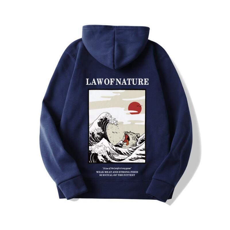 Japanischen Stickerei Lustige Katze Welle Gedruckt Fleece Hoodies 2019 Winter Japan Stil Hip Hop Casual Sweatshirts Streetwear