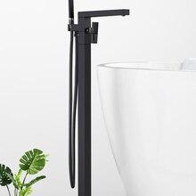 Матовый черный квадратный вертикальный смеситель Quyanre, кран для горячей и холодной воды для душа, ванной комнаты, «Водопад»