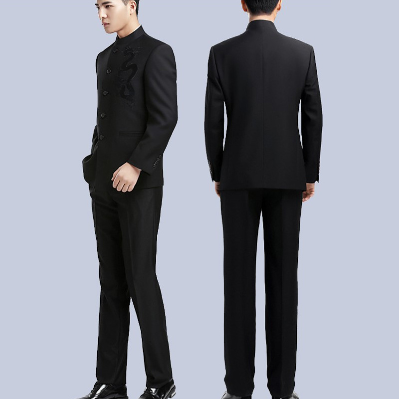 Men   2 Blazer Mandarin Tuxedo Collar Amp Chinese Brand Jacket Pieces Fit Suit Suits Wedding Male Size Pant Big Slim Terno