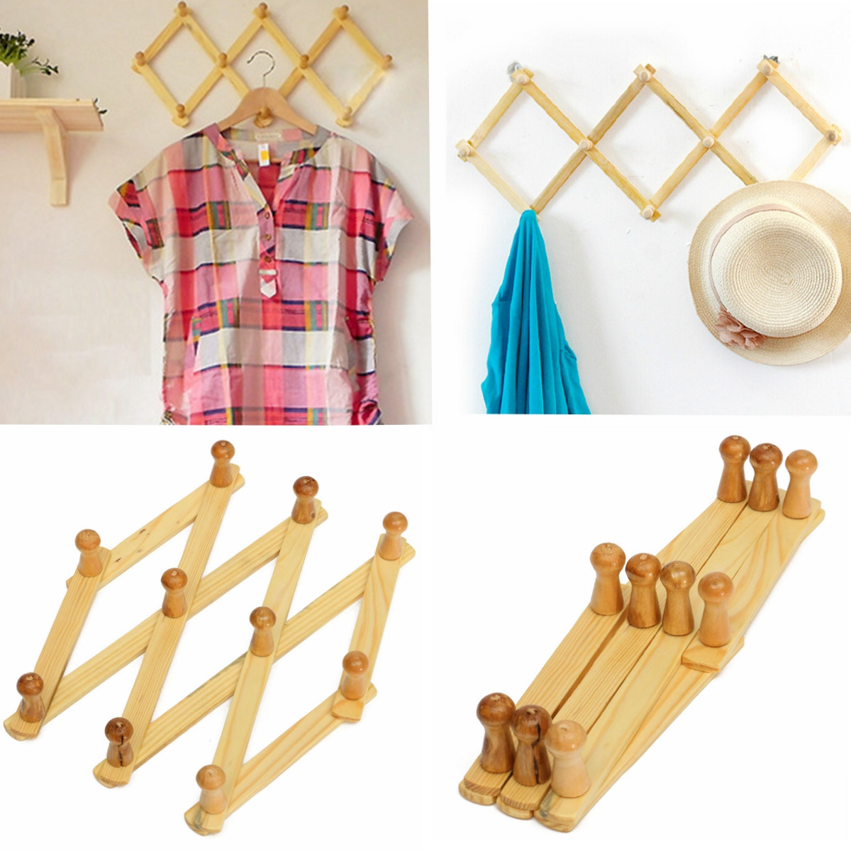 Wooden Expanding Clothes Hanger Expandable Coat Rack Holder Shelf Hat Closet Wall Hook Home Decor