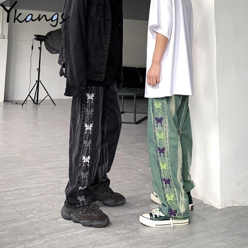 Hip hop streetwear jeans mulher em linha reta elástica cintura alta denim borboleta padrão de impressão perna larga punk harajuku jeans para mulher