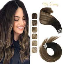 VeSunny Tape in Hair Extensions Human Hair Seamless Skin Weft Hair Extensions Double Sided Balayage Hair Color Adhesive Tape Ins