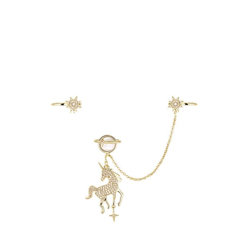 Moveon intégré asymétrique 925 argent licorne boucles d'oreilles Simple femme oreille os Clip Bijoux pour dames filles Bijoux cadeaux