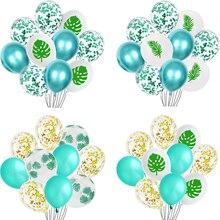 10pcs Green Balloons Leaves Jungle Party Decor Globos Summer Wedding Hawaii Birthday tropical Theme Metallic Baloons