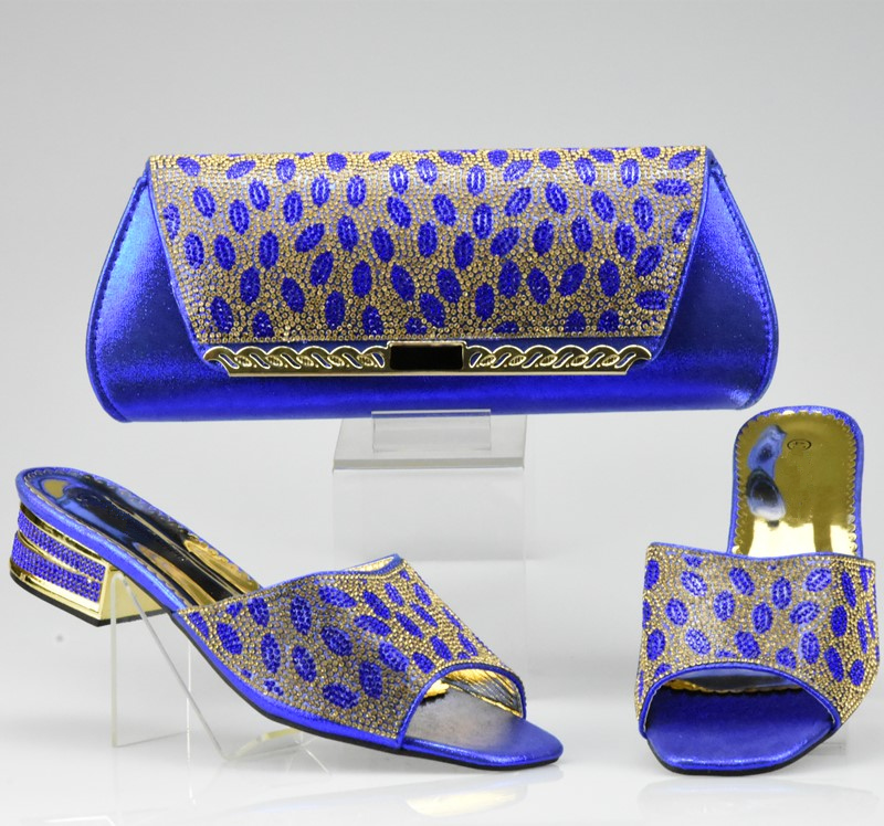 Blue Color Italian Shoe With Matching Bags High Quality African Shoe And Bag Set For Party In Women Nigerian Shoes And Bag Set