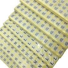 200 шт./лот Small XXS XS S M L XL 2XL 3XL 4XL 5XL 6XL 7XL 8XL клейкие наклейки размер этикетки уплотнение термобумага