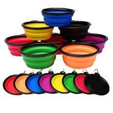 1PC Silicone Dog Bowl Folding Travel For Pet Cat Food Water Outdoor Feeding Bowls Accessories