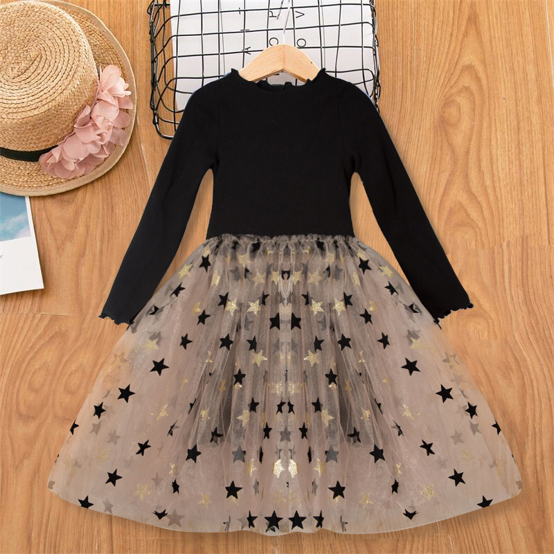 3-8 Years Autumn Girls Clothes Kids Dresses For Girls Casual Wear Bling Star Sling Sling