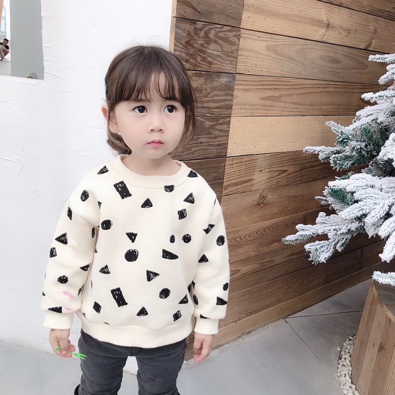2019 New Fall Toddler Girl Tops And Winter Boys And Girls Pullover Black Square Graffiti Guard Top Neutral Style Boys T Shirt