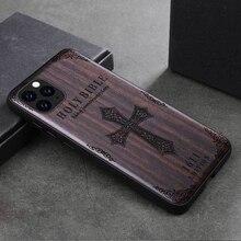 Bois de santal pour iPhone 12 11 Pro Max Mini SE XS Max XR X 7 8 Plus Étui 3D En Relief Motif Couverture Rigide En Bois Funda