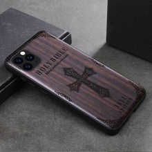 Sandalwood Case for iPhone 12 11 Pro Max Mini SE XS Max XR X 7 8 Plus Case 3D Relief Embossed Pattern Wood Hard Cover Funda