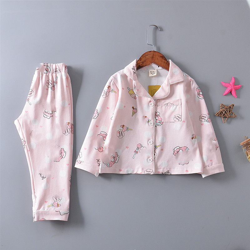 19 Spring Korean-style Children Tracksuit Long Sleeve 95 Cotton GIRL'S Suit INS Air Conditioning Clothes Boys' Pajama