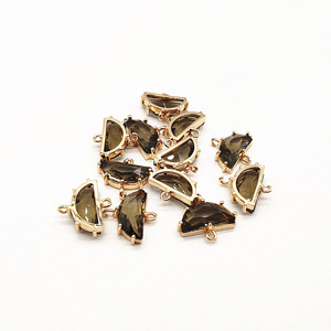 Image 5 - New arrival! 16x15mm 50pcs Copper with Glass semicircle shape charm for earrings accessories,Earring parts,jewelry making DIY