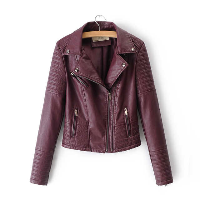 Black PU leather jacket women motorcycle biker jacket moto vintage faux leather jacket pink coat fall plus size