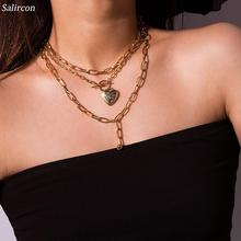 Salircon Peach Heart Chain Necklace Multilayer Alloy Geometric Irregular Vintage Clavicle Personality Choker Necklace Party Gift geometric v alloy choker necklace