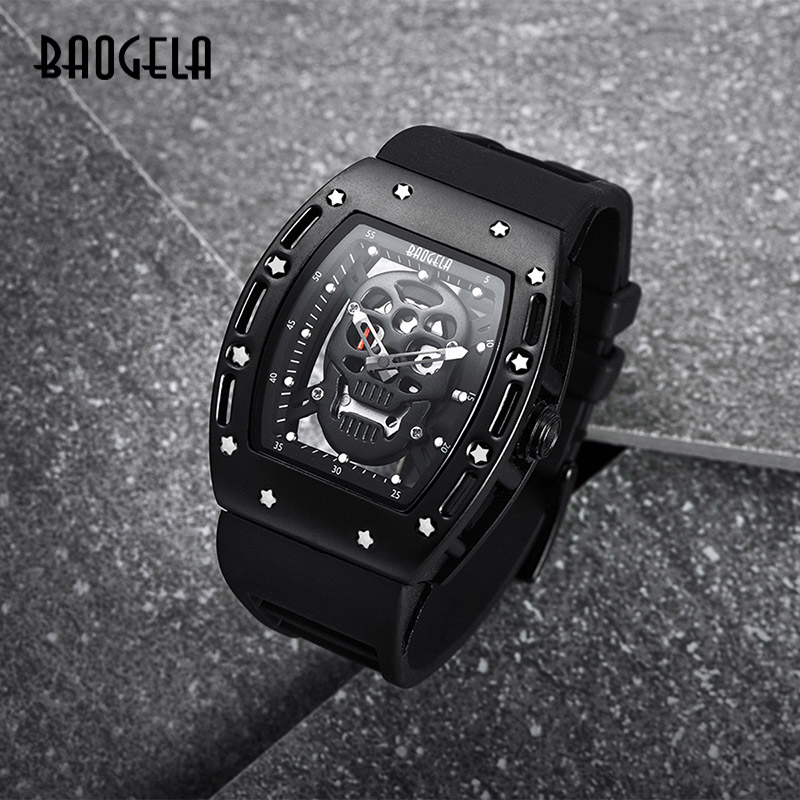 BAOGELA New Arrival Style Pirate Skull Quartz Men Watches Military Silicone Brand Mens Sports Watch Waterproof Relogio Masculino