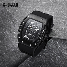 BAOGELA New Arrival Style piracka czaszka zegarki kwarcowe męskie zegarki wojskowe silikonowe marki męskie sportowe wodoodporne Relogio Masculino