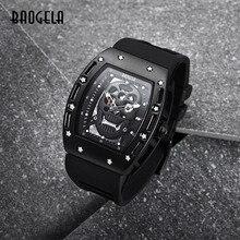 Часы BAOGELA Мужские кварцевые с пиратским черепом, спортивные брендовые водонепроницаемые в стиле милитари, с силиконовым ремешком