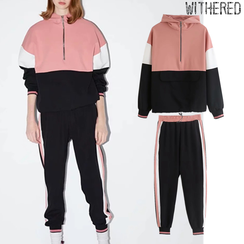 Withered 2019BTS Autumn Two Piece Set England Preppy Patchwork Color Collision Hoodies And Harem Pants Sport Suits 2 Pieces Set