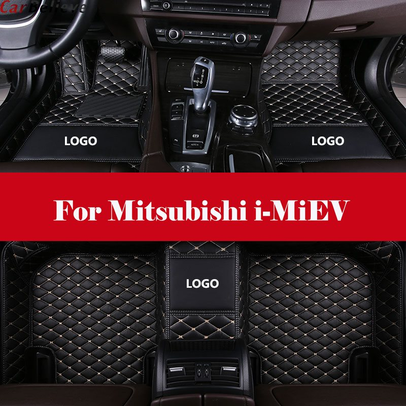 car floor mat Leather Automotive interior Double layer Carpet protect mat with Logo For Mitsubishi i-MiEV
