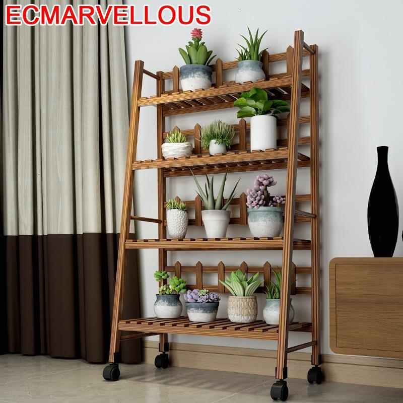 Escalera Decorativa Madera Wood Plantenstandaard Indoor Pot Balcony Outdoor Flower Shelf Stojak Na Kwiaty Plant Stand