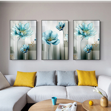 Nordic Blue Flower Canvas Painting Scandinavian Cuadros Wall Art Pictures Prints and Posters for Living Room Home Decor nordic lavender sea landscape posters and prints canvas painting flower scandinavian wall art picture for living room home decor
