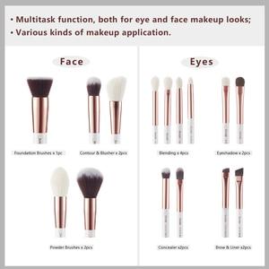 Image 5 - Jessup pinceaux de maquillage professionnel complet fond de teint poudre définisseur ombre eye liner mélangeur 15 pièces blanc / or rose