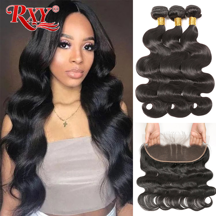RXY-mechones ondulados con cierre, cabello humano brasileño prearrancado, con Frontal de 13x4, 100% de oreja a oreja, extensión de cabello Remy