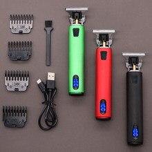 Tondeuse à cheveux professionnelle 2021, rasoir électrique sans fil Rechargeable USB T9 pour hommes, rasoir à 0mm, Machine de barbier pour barbe