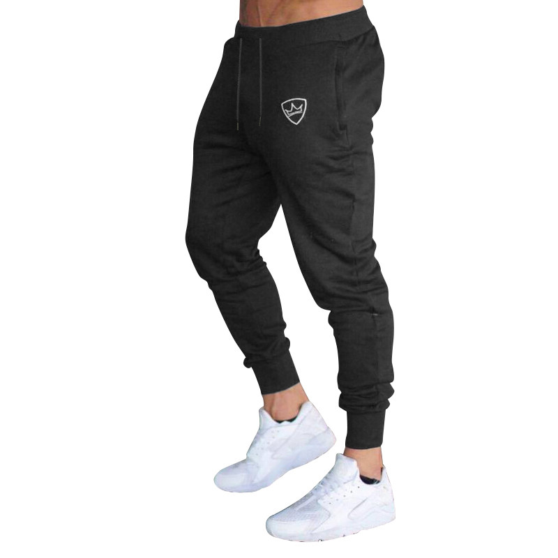 Men Sport Pants Long Trousers Tracksuit Fitness Workout Joggers Gym Sweatpants Solid Color Drawstring Mens Pants Cotton