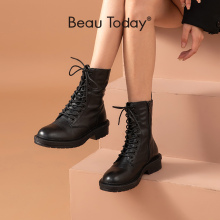 BeauToday Motorcycle Boots Women Genuine Cow Leather Cross-Tied Slide Zip Round Toe Lady Ankle Boots Winter Shoes Handmade 02219