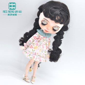 Blyth doll clothes Fashion retro printed dress, high heels for 28-30cm Azone 1/6 doll accessories image