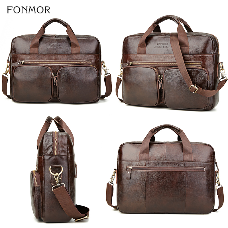 Image 4 - Fonmor Genuine Leather Briefcase For Men Cowhide Big Totes  Handbag Male Brown Business 14 laptop Hand Bags With Zipper  PocketTop-Handle Bags