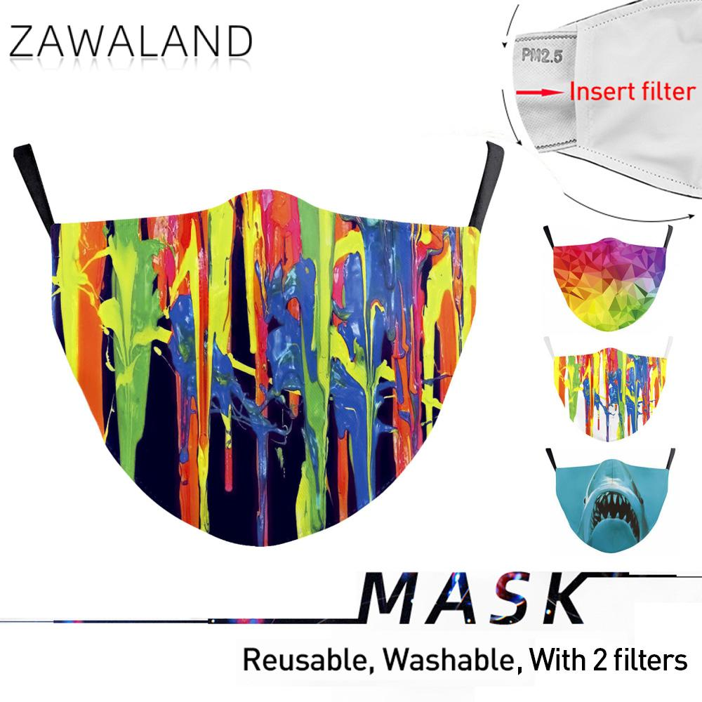 Zawaland  Adult Protective PM2.5 Filter Geometric Printing Mouth Mask Anti Dust Face Mask Bacteria Proof Flu Mask Dropshipping
