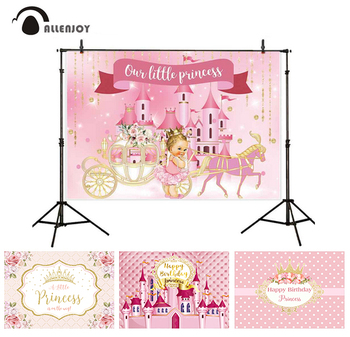 Allenjoy Princess Christening Photocall Flower Leaves Golden Grown Ribbon Pink Baby Shower Banner Happy Birthday Party Curtain image