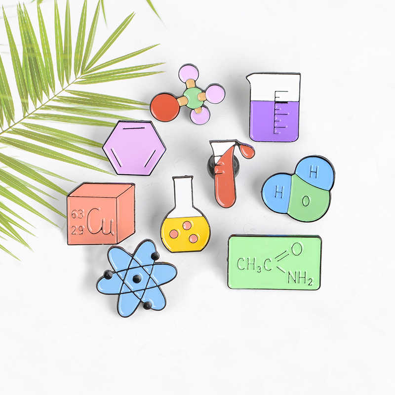 Laboratorium Kimia Bros Ilmu Gelas Gelas Ukur Tabung Kimia Struktur Molekul Enamel Pin Lencana Pakaian Kerah Pin