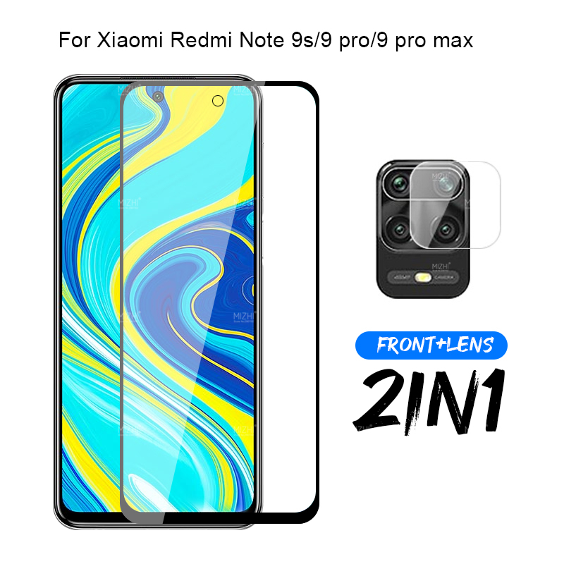 2in1 Protective Glass For Xiaomi Redmi Note 9s 9 Pro Max Camera Screen Protector On Xiomi Xaomi Xiami Note9s Not 9 S Film 6.67''