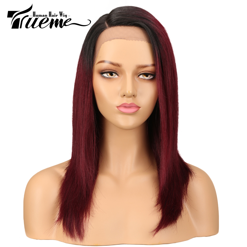 Trueme L Part With Front Lace Wigs For Black Women Brazilian Ombre Blue Red Human Hair Wig Straight Blond Lace Front Wig