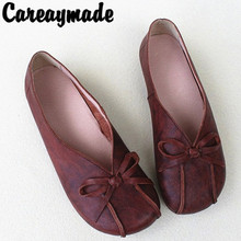 Careaymade-Summer Ethnic Style Comfortable and Simple Hand-made Flat-heeled Cotton-linen Full-leather Round-Headed Single Shoes