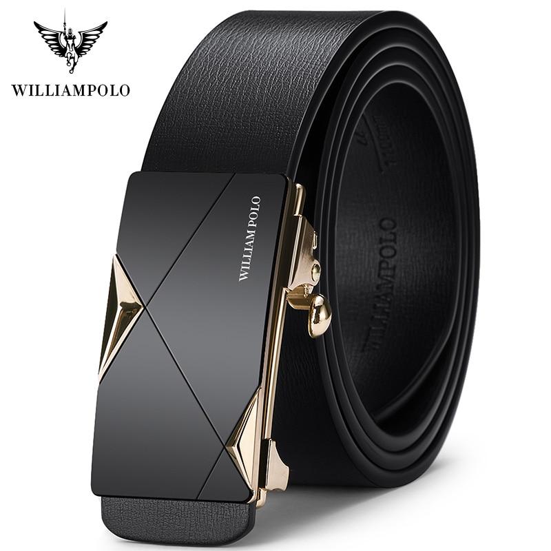 WILLIAMPOLO Fashion Men Leather Belts Solid Buckle With Automatic Ratchet Leather  Belt Men's Designer Belt 2019 new|Men's Belts| - AliExpress