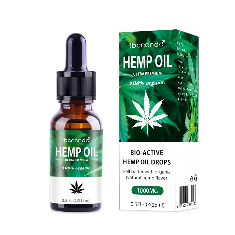 100% Organic Hemp CBD Oil 2000mg 15ml Bio-active Hemp Seeds Oil Extract Drop For Pain Relief Reduce Anxiety Better Sleep Essence