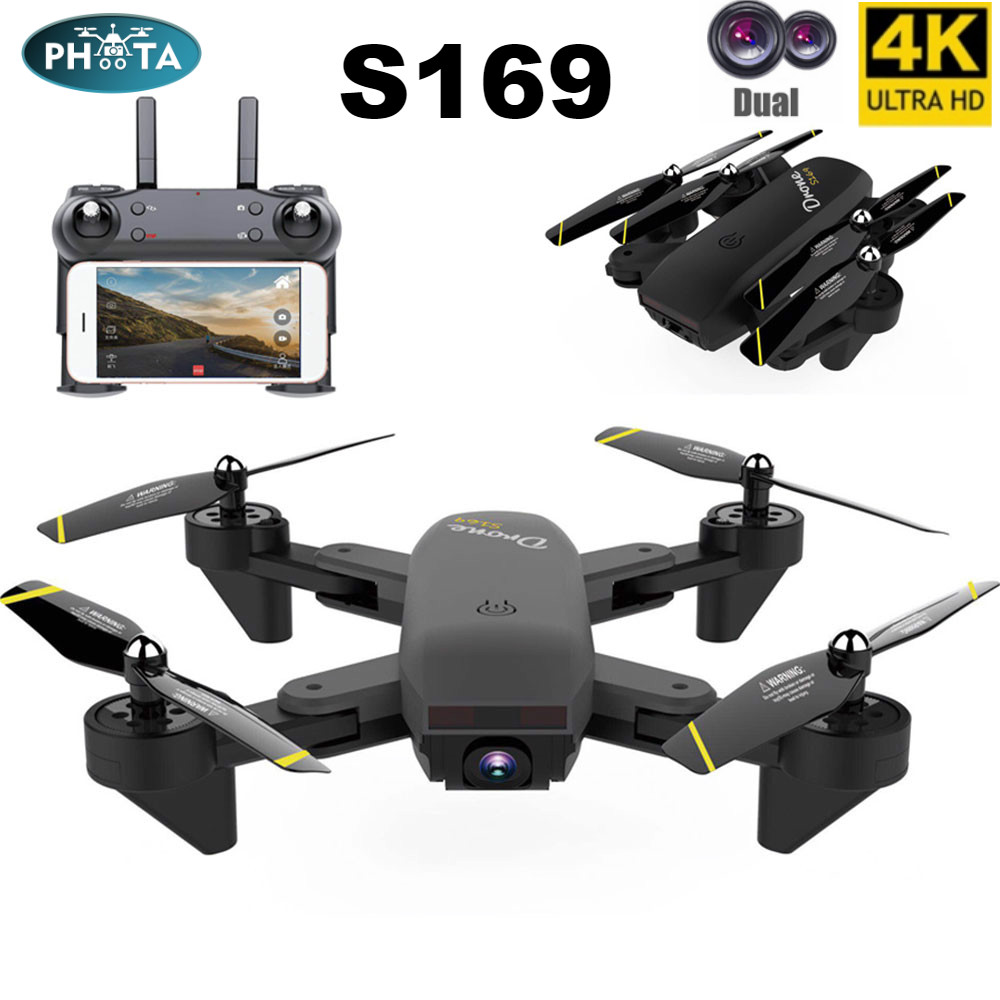 Drone 4K HD Dual Camera HD Dron selfie Aerial Photography WiFi Real-time Transmission Optical Flow Positioning Quadcopter Black