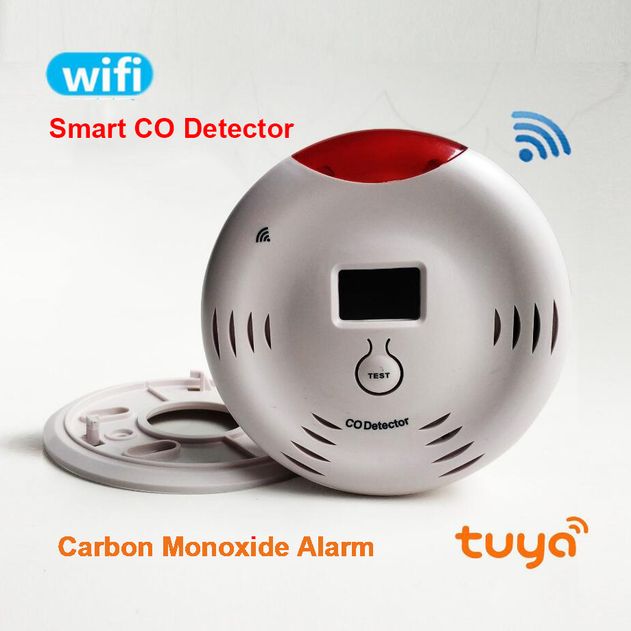 WIFI Tuya CO Detector Carbon Monoxide Smart Fire Alarm Sensor APP Remote Control Android IOS For Home Warehouse Factory House