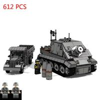 hot military technic WW2 Germany army vehicles Assault Tiger self propelled mortar tank bricks model Supply truck Blocks toys