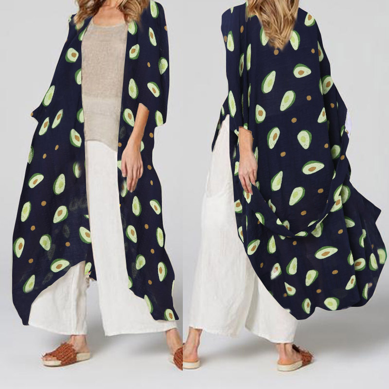 S-5XL Celmia Vintage Long Kimono Cardigan Women Avocado Print Blouses Summer Beach Cover Up Shirts Loose Blusas Plus Size Tops