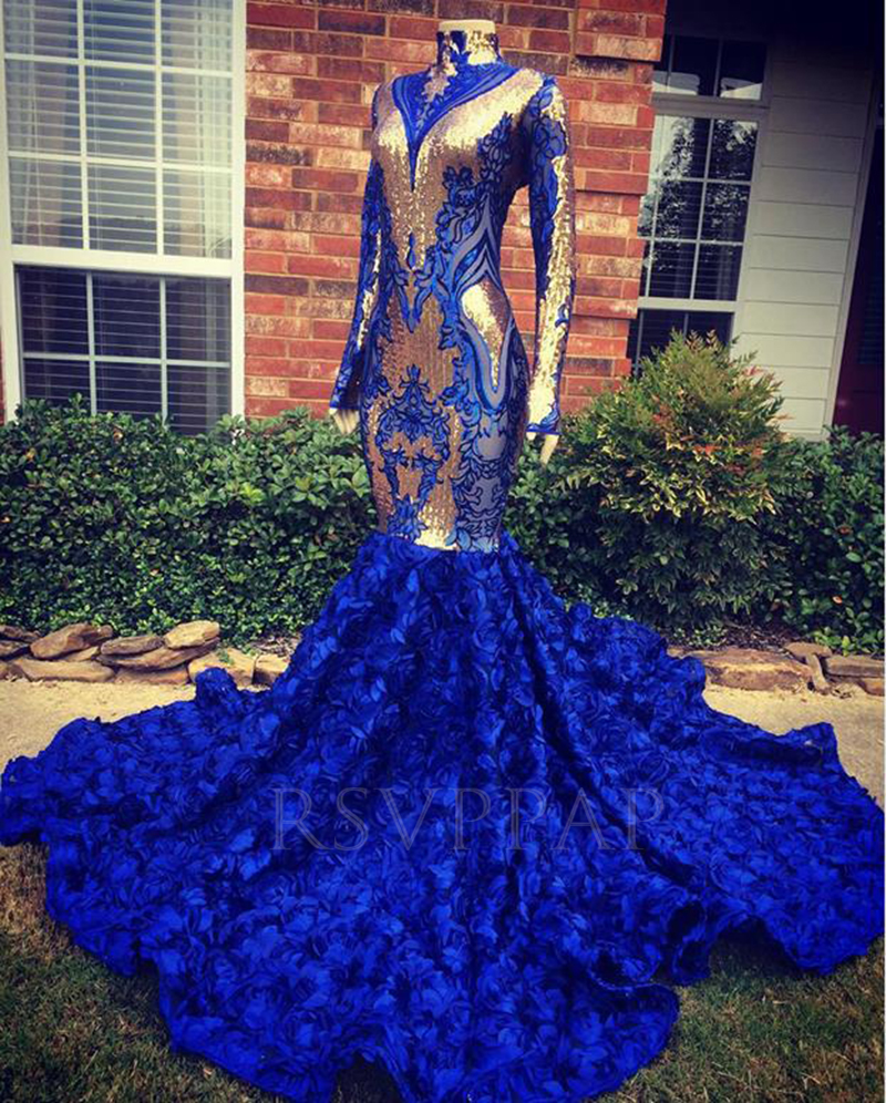 Royal Blue Mermaid Long Prom Dress 2020 Real Pictures Exquisite Gold Sequin 3D Flowers Long Sleeve African Girl Prom Dresses