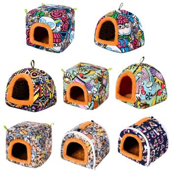 Small Animal Guinea Pig Hamster Hedgehog Bed House Warm Cage Bed Habitat Cave